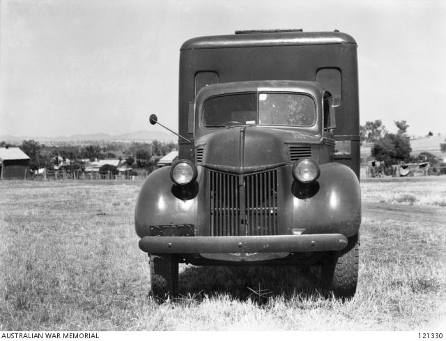 TAMWORTH, NSW 1945-12-12. 15TH AUSTRALIAN DETENTION BARRACKS. FRONT OF TRUCK NO. 7070 WHICH HAD BEEN CONVERTED TO A MOBILE DENTAL SURGERY. (PHOTOGRAPHER L/CPL E. MCQUILLAN)