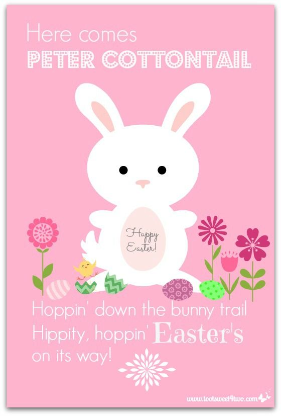 Here Comes Peter Cottontail hoppin' down the bunny trail, Hippity, hoppin' Easter's on its way! This iconic classic children's song was first performed by Gene Autry in 1950.  Yes, that was even before I was born! {grin}. Anyway, this song has run through my head for days now, probably because I've decorated our dining room …