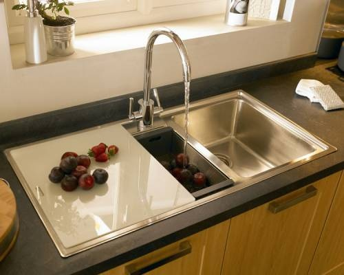 Burford Beech   Burford   Kitchen Families   Kitchen Collection   Howdens  Joinery Double Sink With Chopping Board | Kitchen Designs | Pinterest |  Kitchen ...