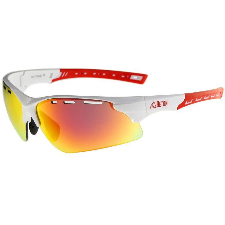 Titus - Semi-Rimless Frame Ventilated Iridescent Mirror Lens Sports Wrap Sunglasses 78mm