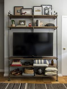 25 Plumbing Pipe Shelving Units that Fit in with Modern Interior Design - Media Stand
