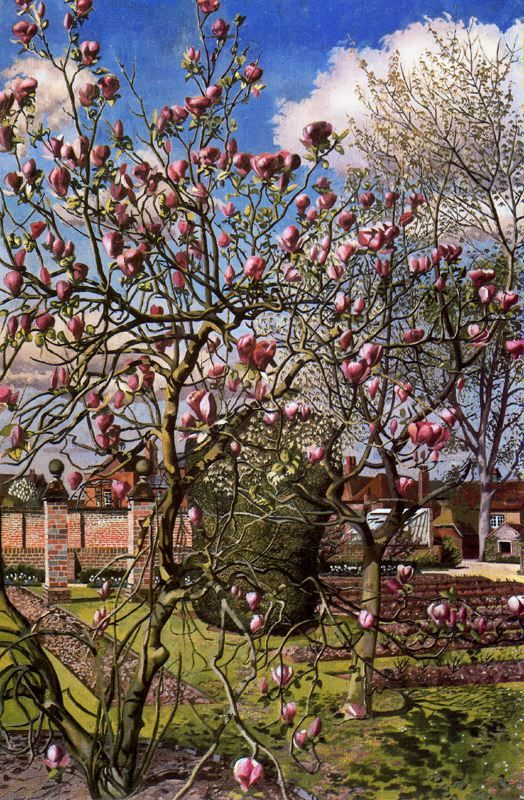 Landscape with Magnolia - Stanley Spencer, 1938         At the window - Pyotr Konch...