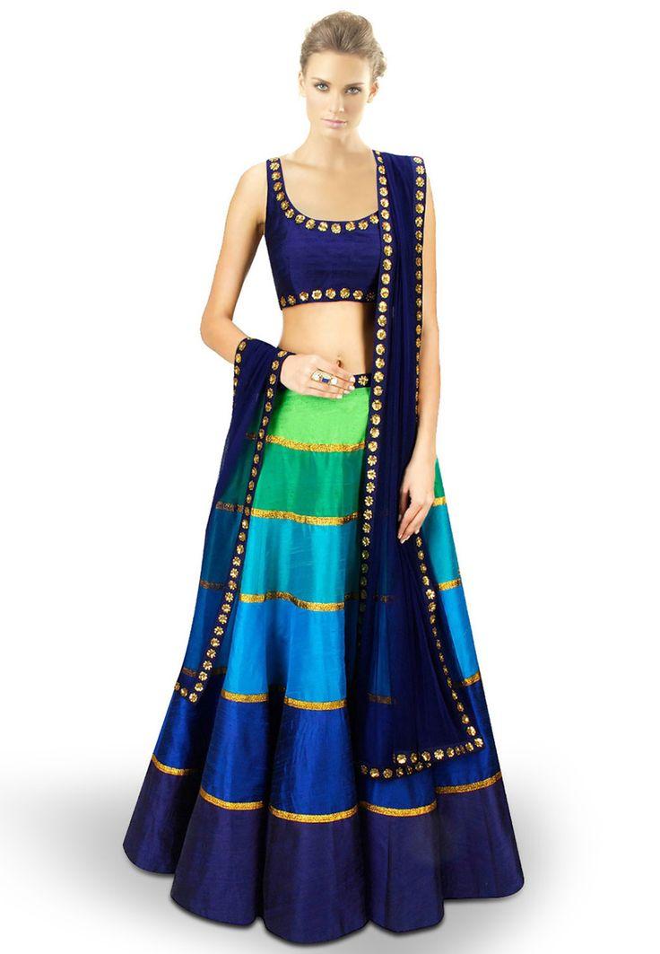 Buy Blue and Green Art Dupion Silk Readymade Lehenga Choli with Dupatta online, work: Embroidered, color: Blue / Green, usage: Wedding, category: Lehenga Choli, fabric: Dupion Silk, price: $312.50, item code: LEX101, gender: women, brand: Utsav