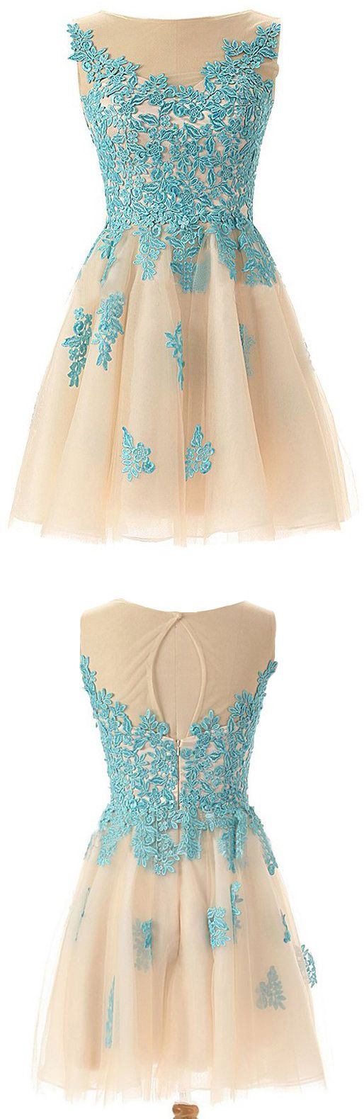 champagne homecoming dresses , Vintage homecoming dresses, homecoming dresses with blue appliques, Homecoming dresses 2016. 2016 homecoming dresses, vintage cocktail dresses, vintage dresses for homecoming