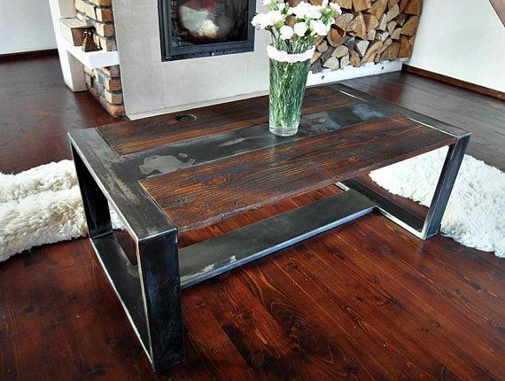Perfect Handmade Reclaimed Wood U0026 Steel Coffee Table   Vintage Rustic Industrial  Coffee Table