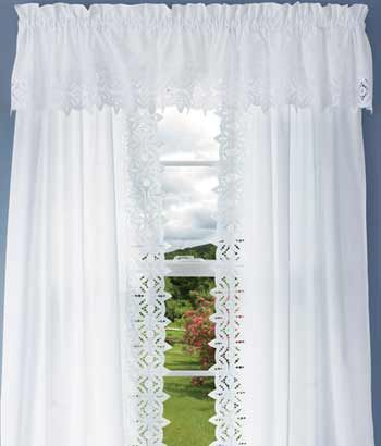 Battenburg Lace Tailored Valance White Curtains