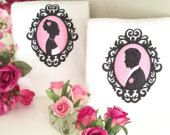 Bride and groom embroidered hand towels