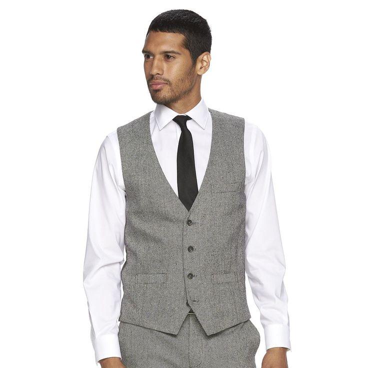Men's WD.NY Slim-Fit Tweed Suit Vest, Size: Large, Grey (Charcoal)