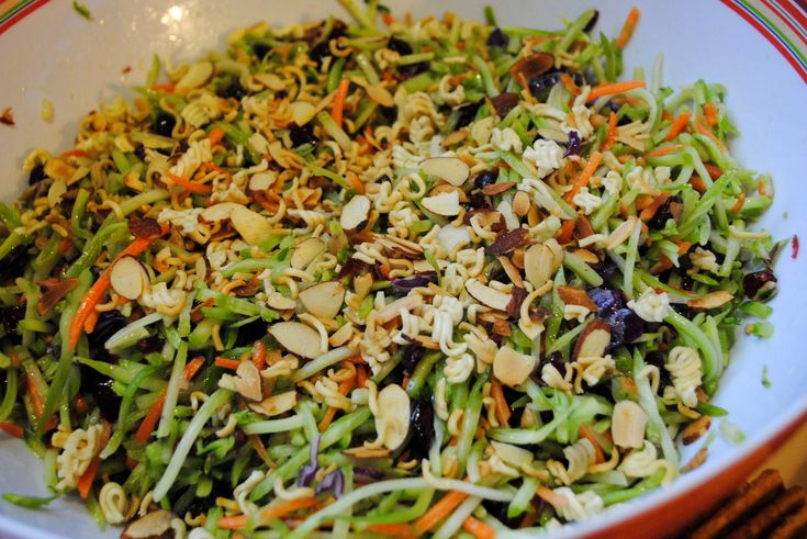 broccoli cole slaw salad with ramen noodles   Broccoli Slaw: Great for Potlucks or Cookouts!  