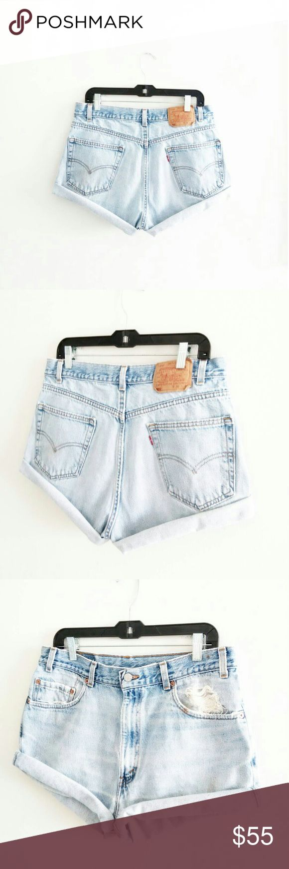 """Mothers Day Sale! Vintage Levi's High Waist Shorts These were $55  WAIST - 32/33"""" HIPS - 45/46"""" RISE - 15"""" high waist LENGTH UNROLLED - 15"""" STRETCH - no MATERIAL - cotton HEM- hand cut, frayed  13"""" rise and up is considered high waist, please measure yourself  These are more a size 11/12 listed as such, disregard tag size. These date back to 1986, these have marks and are highly distressed. Absolutely beautiful!!!!  *No - trades, not modeling *Ships everyday except Sunday Levi's Shorts Jean…"""