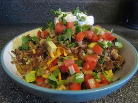 Burrito Bowls. You can substitute the roast w/game meat too!