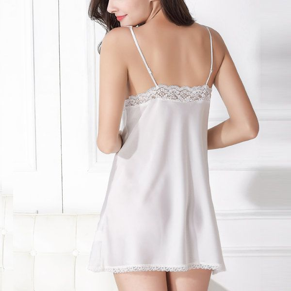 Sexy Sexy Lace Plunge Bowknot Satin Nightgown Comfort Sleepwear - NewChic