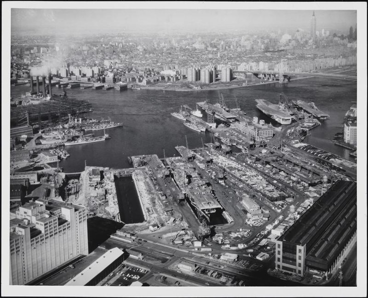 Aerial view of the Brooklyn Navy Yard, ca 1945; Museum of the City of New York