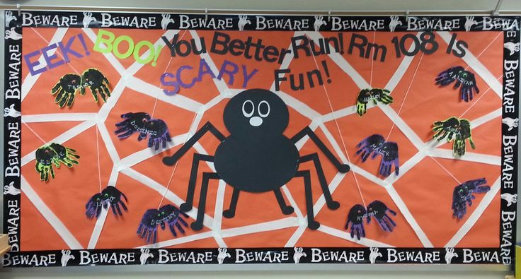 My Halloween bulletin board. The big spider I made out of posterboard and the little spiders are made from my students' handprints :)
