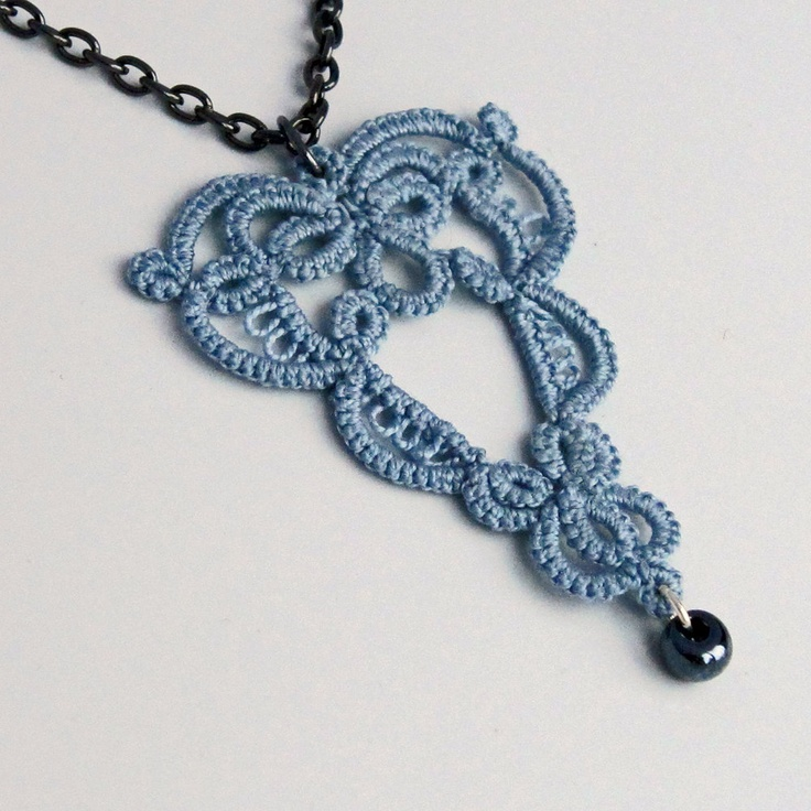 Heart Necklace . Tatted Lace Bead . Large Pendant . FREE SHIPPING. $29.00, via Etsy.