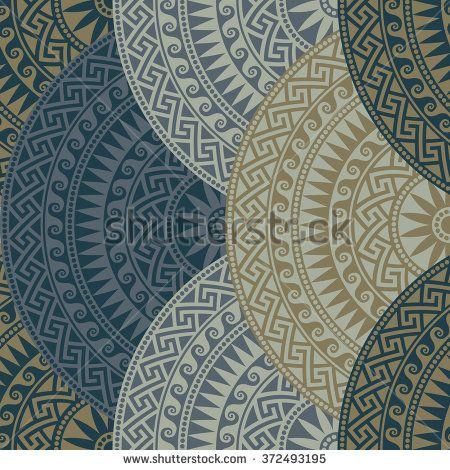 Traditional  seamless vintage dark fan shaped ornate elements with Greek patterns, Meander