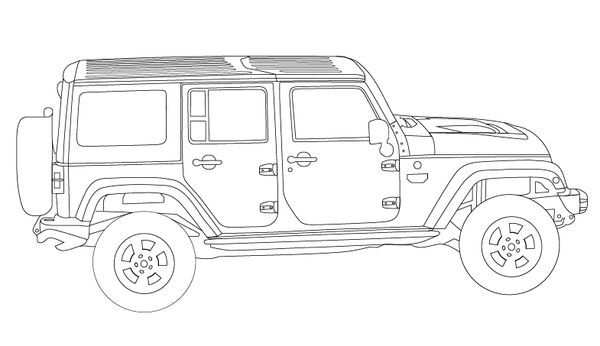 Jeep Wrangler Unlimited - Coloring Book Page