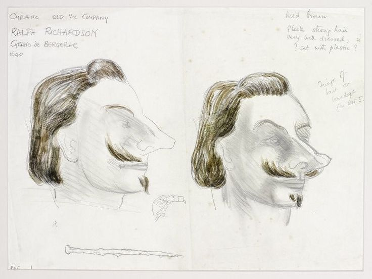 Design for the wig and makeup of Cyrano de Bergerac, Moiseiwitsch, Great Britain, 1946. l Victoria and Albert Museum #Movember #Novembeard