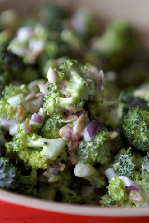 Broccoli salad for the sauce but apple cider vinegar instead of white vinegar (broccoli, sunflower seeds, bacon bits, dried cranberries, celery, carrots-mixture of things you can out in)
