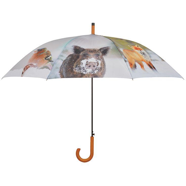 Nagy méretű esernyő 8 féle téli állat mintával az oldalán. Automata nyitással, fekete színű fém szerkezettel és lakkozott fa markolattal ellátva.