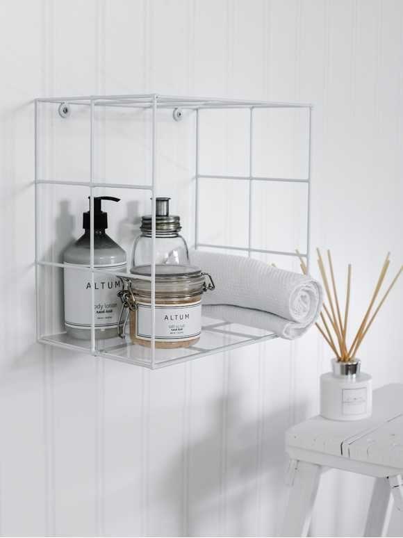 White Wire Box Shelf In 2020 Bathroom Wall Shelves Box Shelves Bathroom Accessories