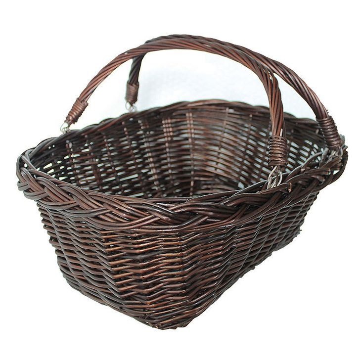 Brown Wicker Basket with swing handles 43x34x27cm Vintage Kitchen Dining Room