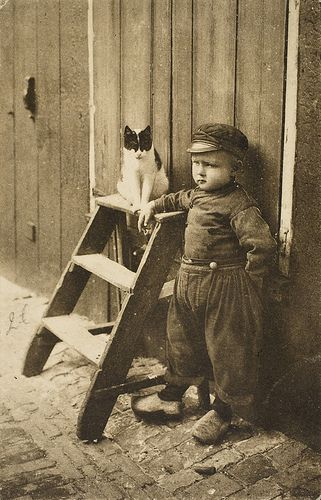 Dutch boy and his cat
