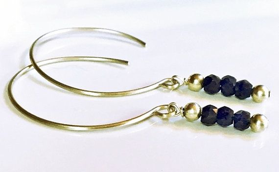 Sterling silver natural sapphire earrings by Emmalishop  #sterlingsilver #handmadejewelry #etsy #sapphire #earrings #blue #stone #boho #bohemian #jewelry #jewellery #etsyhandmade #hammeredmetal #gemstone #natural #dangle #womens #bohochic #bohojewelry