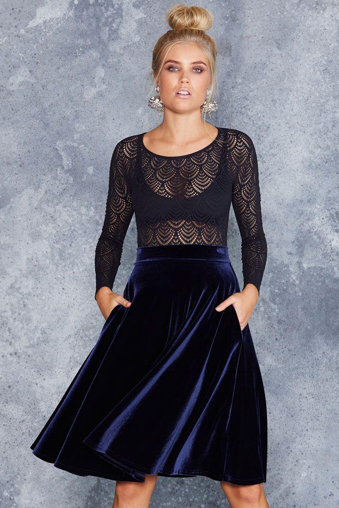 Velvet Deep Blue Midi Skirt - LIMITED ($90AUD) by BlackMilk Clothing
