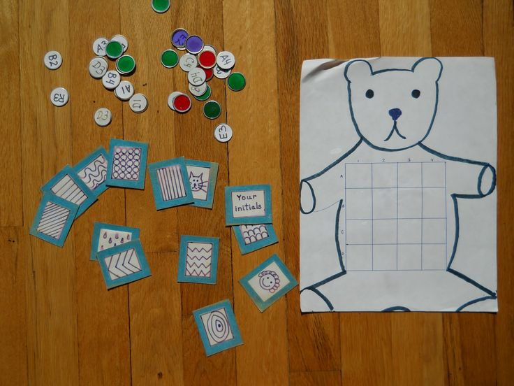 """HANDWRITING GAME. My son would fall apart whenever I took out """"the handwriting workbook"""" Enter: Bear Belly Bingo-a way to practice handwriting without knowing it. There's a 4x4 grid on the bear. Your child randomly draws a box number (B-2, R-4, etc.), finds his square using these coordinates (a MATH skill by the way), draws a """"Patterns"""" card, (which uses same motions as letters) then fills in the square with that pattern. First one to get four in a row wins."""
