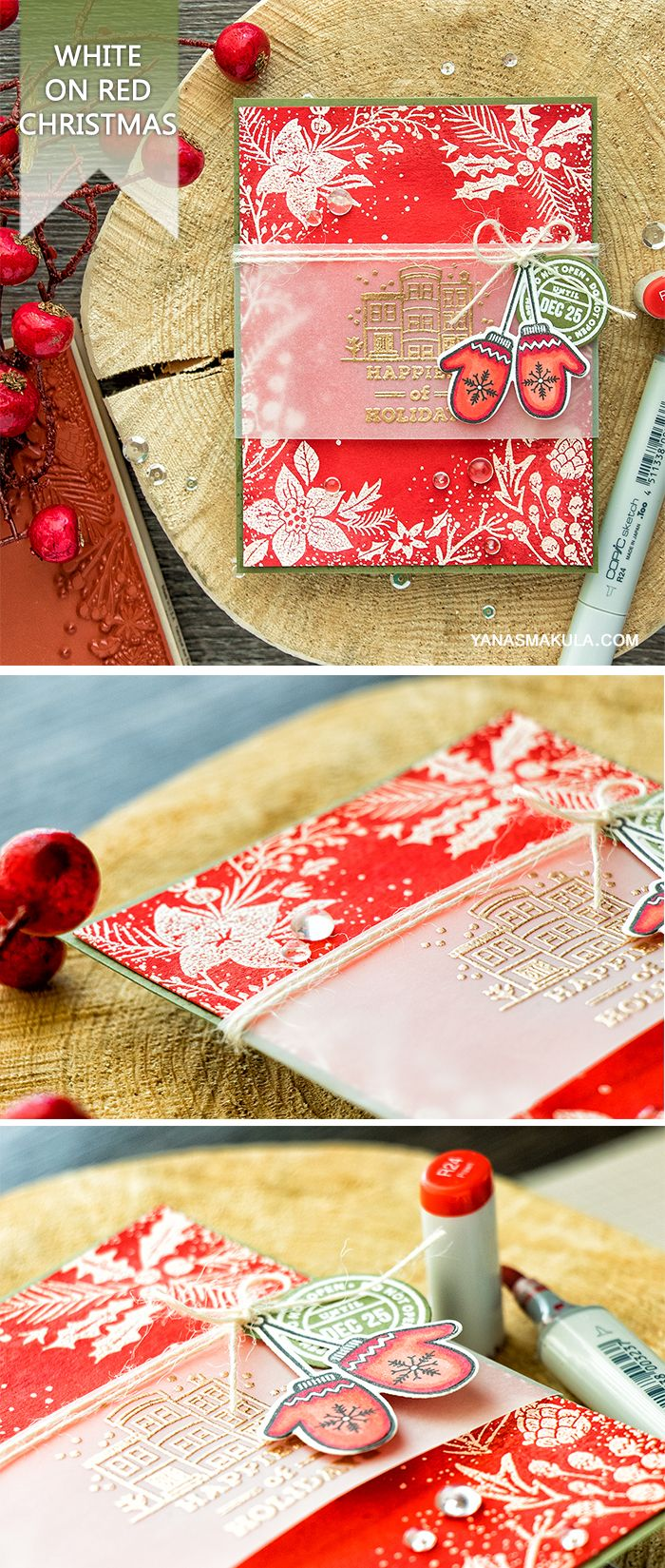 Create beautiful Holiday card with Hero Arts Holiday Floral Background stamp and other sets! For more details, visit http://www.yanasmakula.com/?p=55815