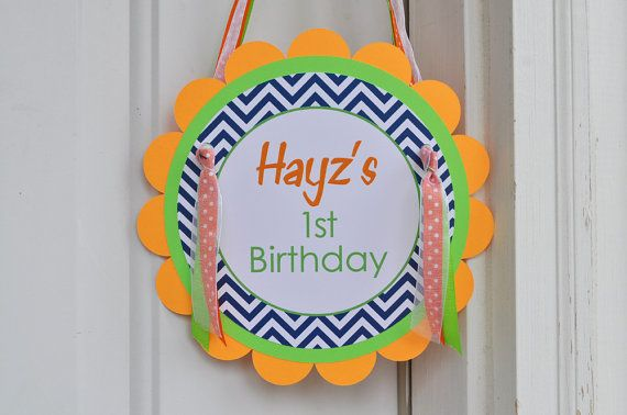 Boys Birthday Door Sign - Chevron Birthday Decorations with Polkadots - Navy Blue, Orange and Green on Etsy, $10.00