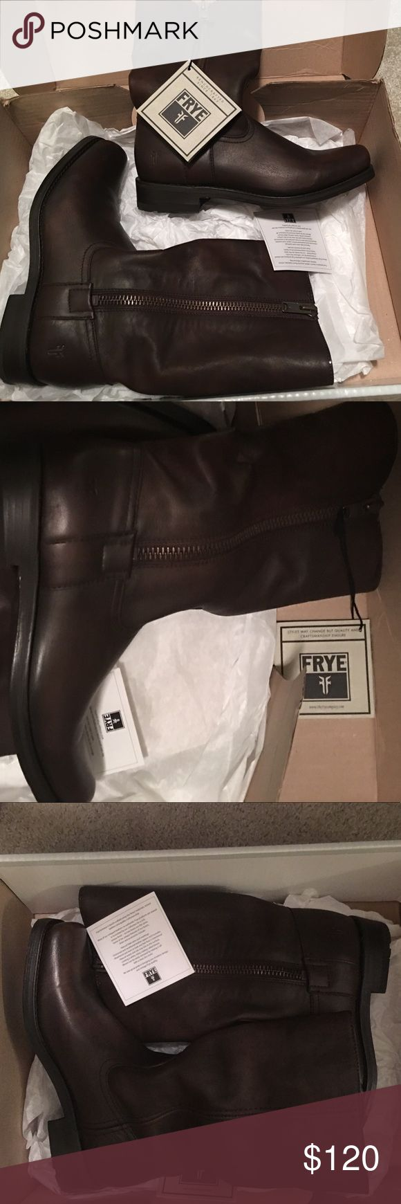 Frye Heath outside zip NWT and box! Maple leather 9.5 Frye Shoes Combat & Moto Boots
