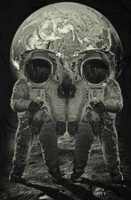 Metamorphic skull illusion with astronauts.