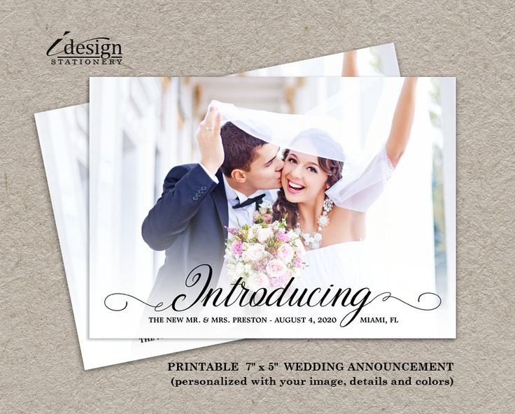 Photo Wedding Announcement Card | DIY Printable Calligraphy ...