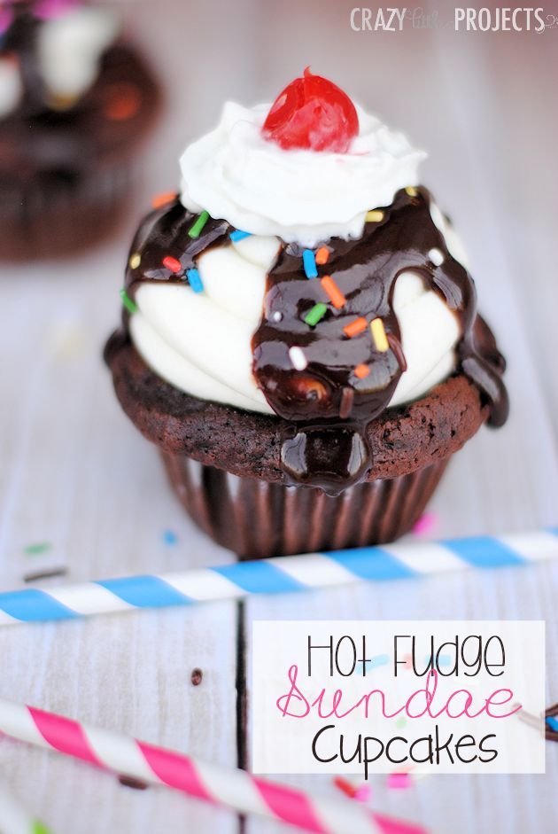 Hot Fudge Sundae Cupcake Recipe. Shared on 7/25/2014 for National Hot Fudge Sundae Day!