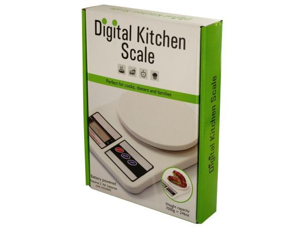 """Digital Kitchen Scale, 2 - Perfect for cooks, dieters and families, this Digital Kitchen Scale is a durable plastic scale with a large round weighing plate, large digital display and easy press buttons. Features auto zero resetting, auto power off and multiple mode functions. Bottom has anti-slip feet for stability. Weight capacity: 7000 grams = 246 ounces. Instructions included inside and on back of package. Measures approximately 9.5"""" x 6.625"""". Requires 2 'AA' batteries (included). Comes…"""