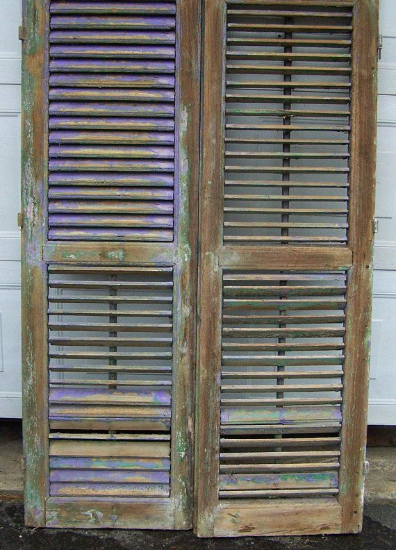 Old Shuttersvintage Two Panel Wood Shuttersmediterranean Etsy In 2020 Wood Shutters Old Shutters Vintage Doors