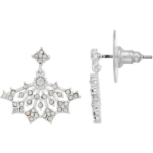 LC Lauren Conrad Simulated Crystal Fan Nickel Free Drop Earrings ($14) ❤ liked on Polyvore featuring jewelry, earrings, silver, fake earrings, imitation earrings, nickel free earrings, drop earrings and lc lauren conrad