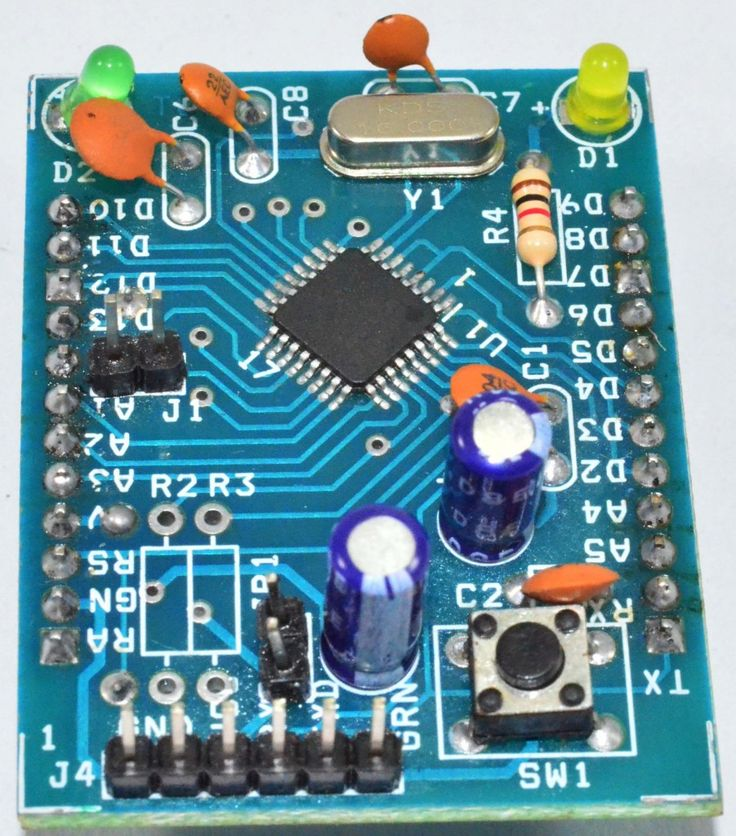 The A&B Mini is a microcontroller board based on the  ATmega328AU  (datasheet).  It has 14 digital input/output pins (of which 6 can be used as PWM outputs), 8 analog inputs, an on-board resonator, a reset button, and holes for mounting pin headers. http://www.muav.in/products-page/drone-electronics/atoms-bytes-products/a-b-mini-board/