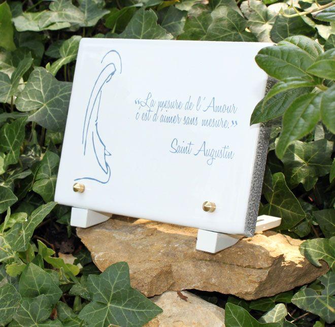 plaque funéraire:  La mesure de l'Amour, c'est d'Aimer sans mesure. Saint Augustin  plaque_funeraire,plaque_cimetiere