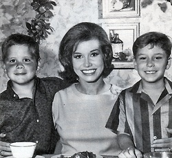 Mary Tyler Moore with her son, Richie, and Larry Mathews.