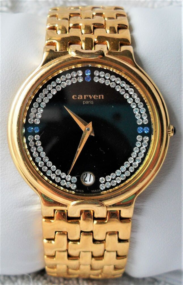 897c9ff8419 Rare 90 s Carven Paris 18K Gold Diamond Sapphire Dial Swiss Made Ladies  Watch  CarvenParis  DressFormal