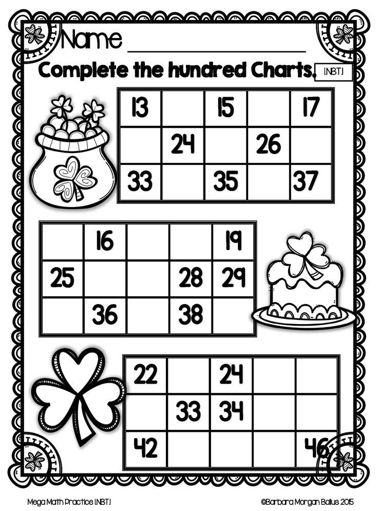 Mega Math Practice St Patty theme 1.NBT.1 introduces the Numbers and Base Ten standard by giving your students a lot of practice counting on to 120 from any number and one to one correspondence. 1NBT.1 is all about creating a solid foundation in counting and number sense to 120. Gaining a foundation with this practice will give your kiddos a head start on the rest on the work in the NBT standard. Students need many opportunities to work with all new math skills.