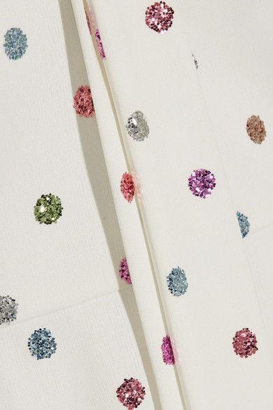 Marc Jacobs - Pussy-bow Glittered Polka-dot Cady Mini Dress - White - US0