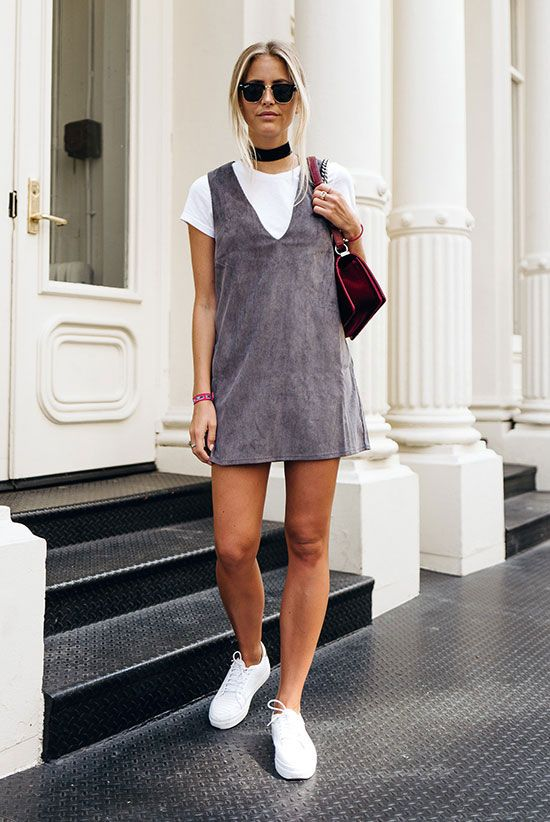 Grey suede sleeveless dress white sneakers burgundy shoulder bag