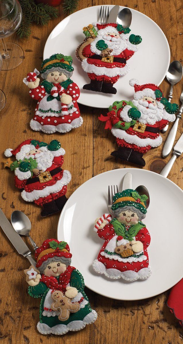"Amazon.com: Bucilla Santa & Mrs. Silverware Holders Felt Applique Kit-5""X7"" Set Of 6"