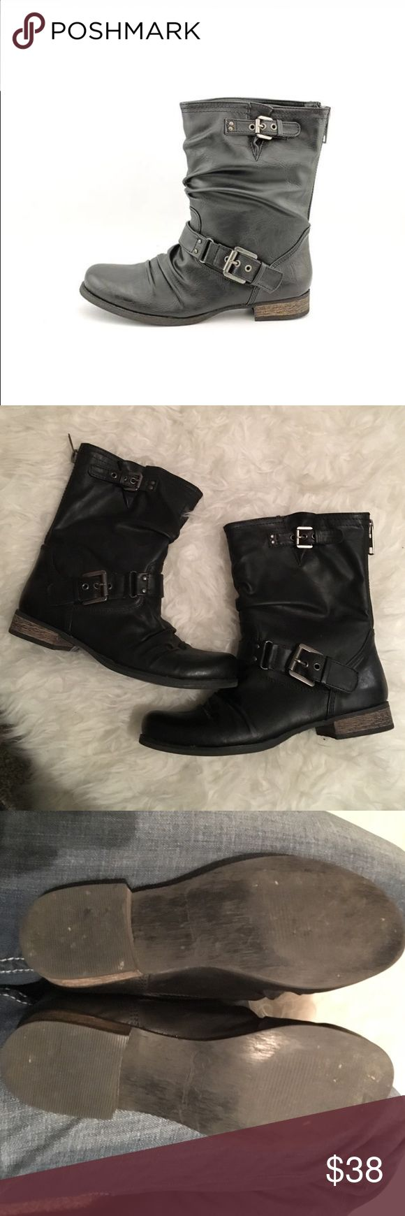 """NEW Carlos Santana Boots 🍁Stay in style this fall in the Ashley boot from Carlos by Carlos Santana. 🍁Faux leather upper in a mid-calf boot style with a round toe Decorative straps with metal buckles and eyelets. Smooth lining, cushioning insole 1 inch heel, Approx 8"""" boot shaft height Approx. 1"""" heel height ❗❗️️BRAND NEW. ONLY FLAW IS SMALL SCUFF❗️❗️ shown in picture. Carlos Santana Shoes Combat & Moto Boots"""