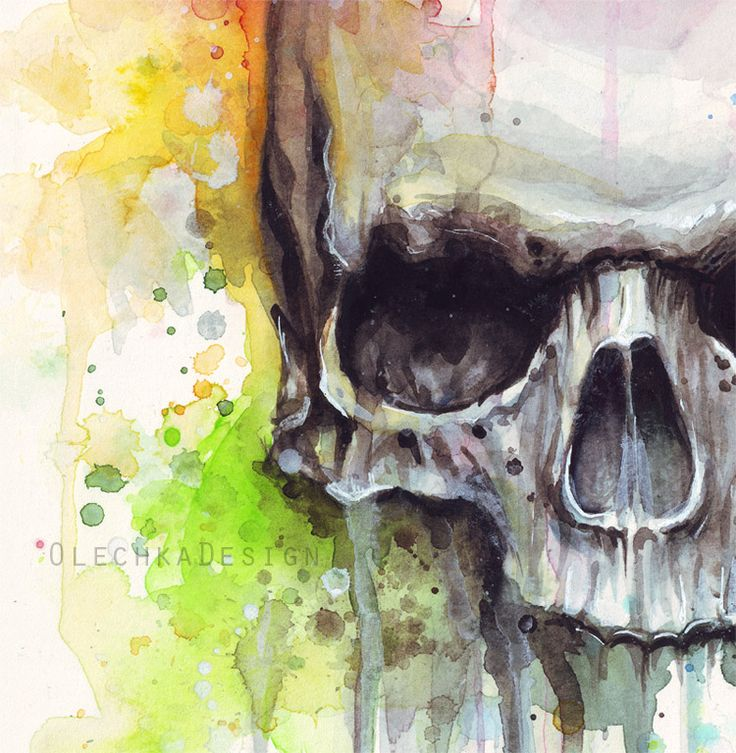 watercolor skull painting - Google Search