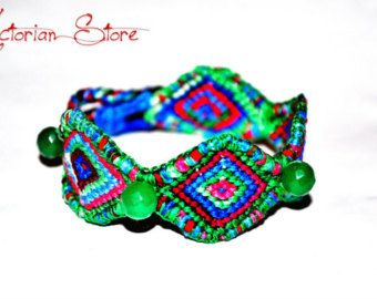Friendship bracelet , ethnic with emerald beads